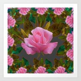 LEAFY PINK ROSE GARDEN & GREY PATTERNS ART Art Print