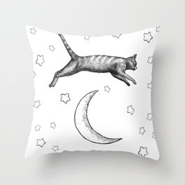 Cat Jumping Over The Moon Throw Pillow