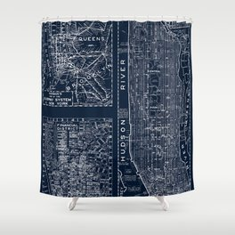 Vintage New York City Street Map Shower Curtain