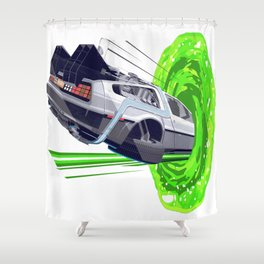 Back to The Future with The Rick Door Portal Shower Curtain