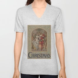 Vintage Christmas Romance Under The Mistletoe (1886) Unisex V-Neck