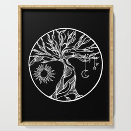 black and white tree of life with hanging sun, moon and stars II Serving Tray