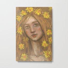 Dandelions Bloom, Girl and Flowers, Pastel Painting Metal Print
