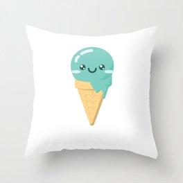 Mint Ice Cream Throw Pillow
