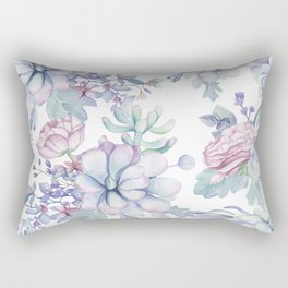 Pretty Blue Pink Succulents Garden Rectangular Pillow