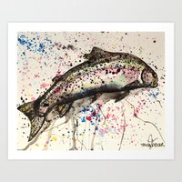 trout Art Prints featuring rainbow trout by Tricia Kibler