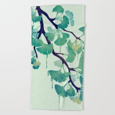 O Ginkgo (in Green) Beach Towel
