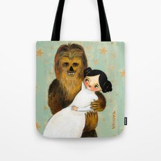 Princess Leia and Chewbacca painting by tascha parkinson Tote Bag