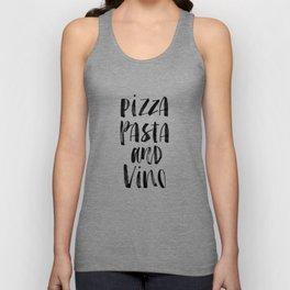 Pizza Pasta and Vino black and white typography poster black-white design home decor kitchen wall Unisex Tank Top
