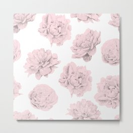Simply Roses in Pink Flamingo Pink on White Metal Print