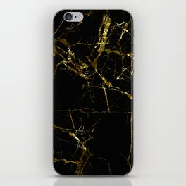 Golden Marble - Black and gold marble pattern, textured design iPhone Skin