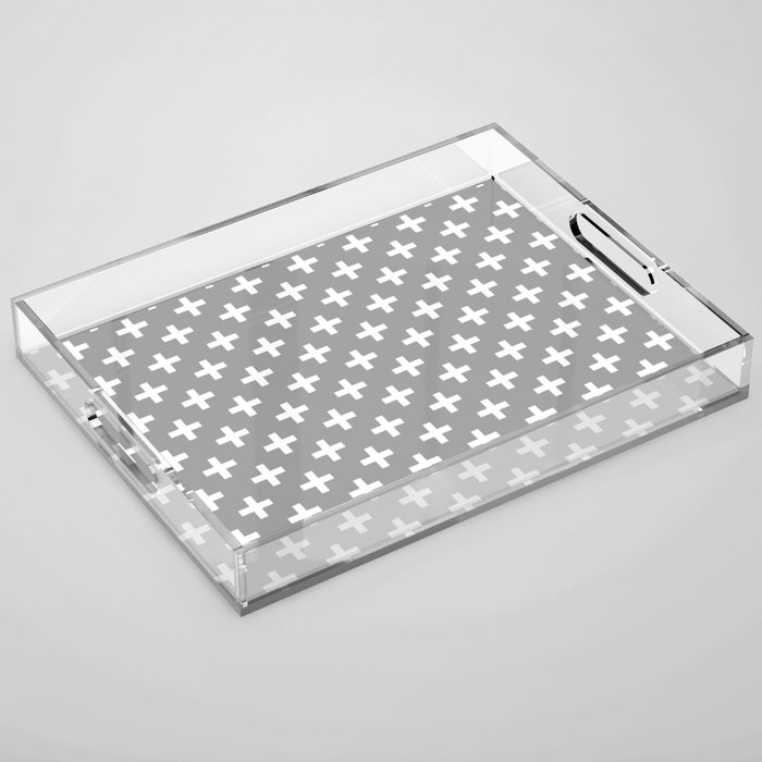 Crosses | Criss Cross | Plus Sign | Hygge | Scandi | Grey and White | Acrylic Tray