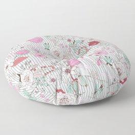 Mauve pink pastel green rustic floral gray stripes Floor Pillow