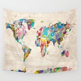 world map music art Wall Tapestry