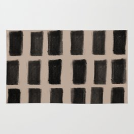 Brush Strokes Vertical Lines Black on Nude Rug