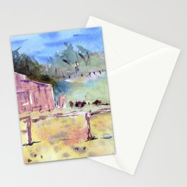 Farm watercolour painting - loose impressionist style Stationery Cards