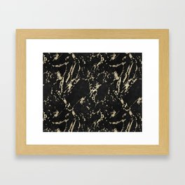 Coal Black Marble Gold Mine Framed Art Print