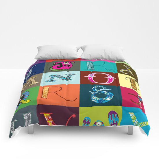 Hand Drawn Alphabet Comforters