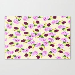 Spiral Pink Hydrangea Red Peony Wren Pattern Canvas Print