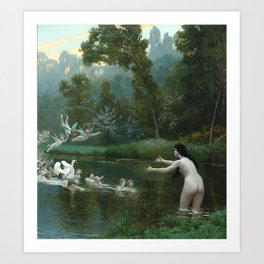 LEDA AND THE SWAN - JEAN-LEON GEROME Art Print