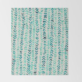 Hand Painted Herringbone Pattern in Mint Throw Blanket