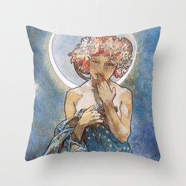 Alphonse Mucha Moonlight Art Nouveau Throw Pillow