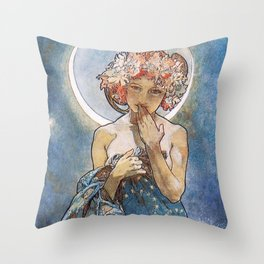 Alphonse Mucha Moonlight Art Nouveau Throw Pillow