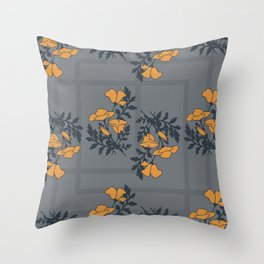 spring poppies pattern blue Throw Pillow