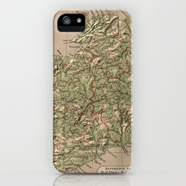 Vintage Physical Map of Ireland (1880) iPhone Case