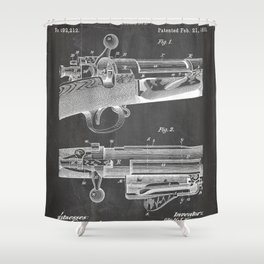 Bolt Action Rifle Patent - Repeating Receiver Art - Black Chalkboard Shower Curtain