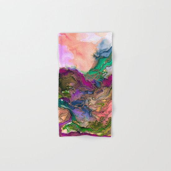 BRING ON BOHEMIA 1 Bold Rainbow Colorful Watercolor Abstract Metallic Accent Summer Peach Pink Green Hand & Bath Towel