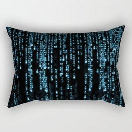 Matrix Binary Blue Code Rectangular Pillow