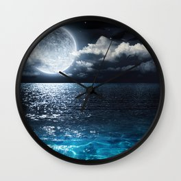 Full Moon over Ocean Wall Clock