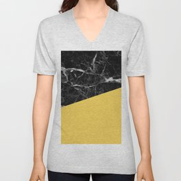 Black Marble and Primrose Yellow Color Unisex V-Neck