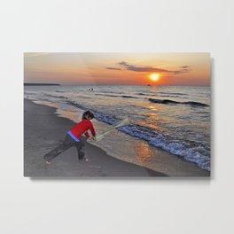 LITTLE DEVIL ON THE SUNSET BEACH Metal Print