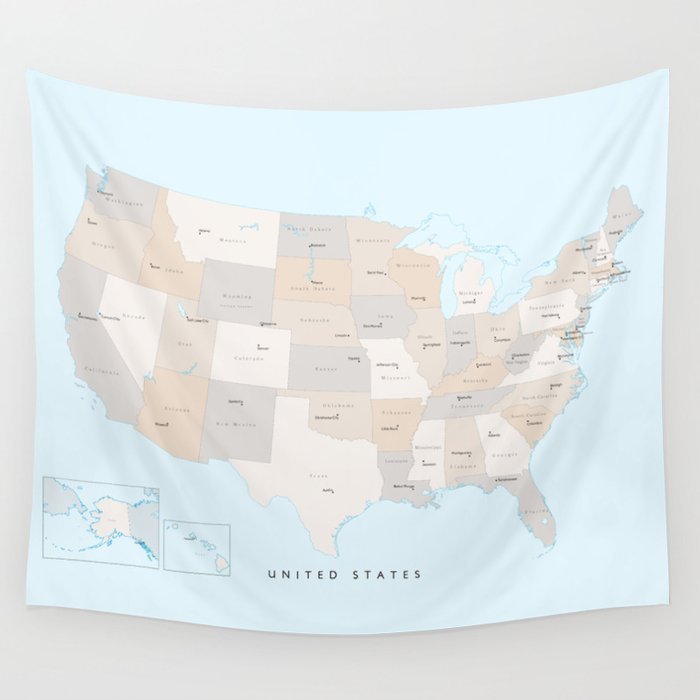Map of the USA with states and state capitals, \