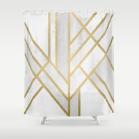 art deco Shower Curtains featuring Art Deco Geometry 2 by Elisabeth Fredriksson