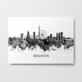 Brighton England Skyline BW Metal Print