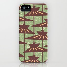 Mid Century Modern Pendant Lamp Composition Sage and Brown iPhone Case