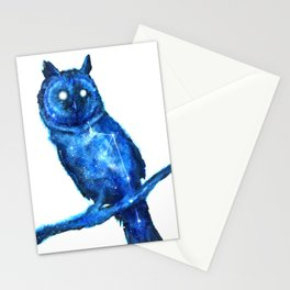 Owl Painting | Space Owl | Owl Constellation | Cosmic Owl | Blue Owl Stationery Cards