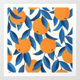 Oranges and blue leaves vintage illustration pattern Art Print
