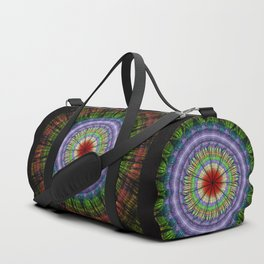Groovy painterly mandala with tribal patterns Duffle Bag