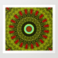 Lovely Healing Mandala  in Brilliant Colors: Olive, Green, Burnt Orange, Black, and Turquoise Art Print