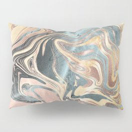 Liquid Gold and Rose Gold Marble Pillow Sham