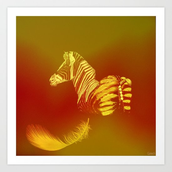 The zebra who loses these feathers Art Print