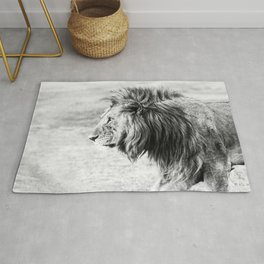 Black and White Lion Rug