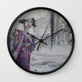 Geisha In The Snow Wall Clock