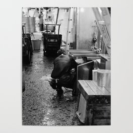 Pressure Washing, Tsukiji Fish Market, Tokyo, Japan Poster
