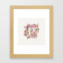Initial Letter P Watercolor Flower Framed Art Print