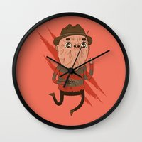 freddy krueger Wall Clocks featuring Freddy by Daniel Mackey